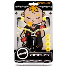 Hands Free Ancus in-Earbud Stereo 3.5 mm Black - Yellow with Zipper Cable without Micrphone