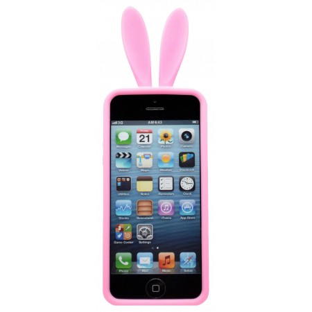 Case Silicon Ancus Rabbit Ears for Apple iPhone SE/5/5S Pink