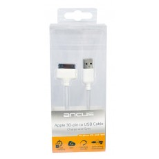Data Cord Cable Ancus USB to 30 pin with Enhanced Plug-inn for Apple iPhone 4/4S White(Compatible with all iOS Upgrades)