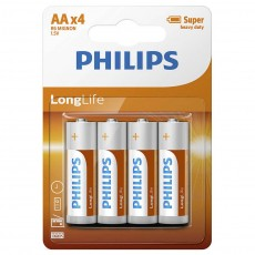 Battery Super Heavy Duty Philips Long Life LR6 size AA 1.5 V Psc. 4