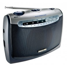 Portable Analog Radio FM/MV Philips AE2160 with AC - Battery Operation Grey - Silver