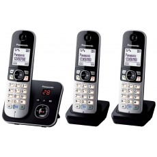 Dect/Gap Panasonic KX-TG6823GB Trio Silver - Black with Anwering Machine and Eco Mode