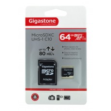 Flash Memory Card Gigastone MicroSDXC UHS-1 64GB C10 Professional Series with Adapter up to 80 MB/s*