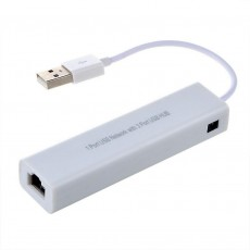 USB Fast Ethernet Adapter Mobilis with 3 Port Usb Hub