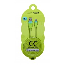 Data Cable Desoficon CC ICA0002 1.5m 2.4A for iPhone/iPad/iPod Lightning Light Green - Light Blue Apple Certified MFI