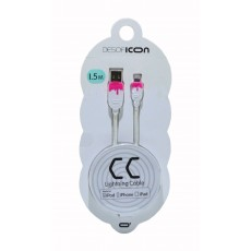 Data Cable Desoficon CC ICA0002 1.5m 2.4A for iPhone/iPad/iPod Lightning Light White - Pink Apple Certified MFI