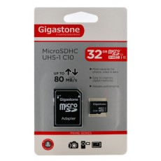 Flash Memory Card Gigastone MicroSDHC UHS-1 32GB C10 Professional Series with Adapter up to 80 MB/s*