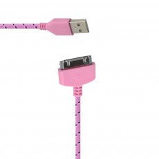 Data Cord Cable Colour Stripes USB to 30 pin for Apple iPhone 4/4S Pink - Black (Compatible with all iOS Upgrades)