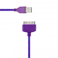 Data Cord Cable Colour Stripes USB to 30 pin for Apple iPhone 4/4S Purple - Blue (Compatible with all iOS Upgrades)