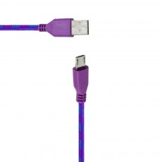 Data Cord Cable Colour Stripes USB to Micro USB Purple - Blue for Waterproof Phones