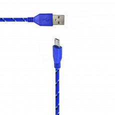 Data Cord Cable Colour Stripes USB to Micro USB Blue - White for Waterproof Phones