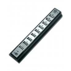USB 2.0 Hub Combo 10 Port Black - Silver