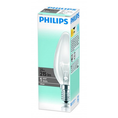 Candle Bulb Philips Β35 Clear 25W 215 Lumen 230V