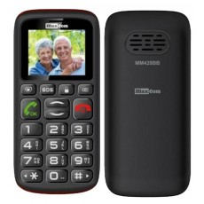 "Maxcom MM428BB (Dual Sim) 1.8"" with Large Buttons, FM Radio (Works without Handsfree), Torch and Emergency Button Black"