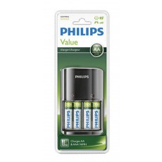 Battery Charger Philips Value for AA & AAA with Batteries 4 x AA 2100 mAh