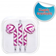 Hands Free Art Collection Stereo for Apple-Samsung-HTC-BlackBerry-LG 3.5 mm with Remote Fuchsia Stripes