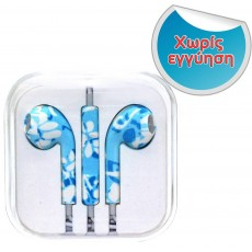 Hands Free Art Collection Stereo for Apple-Samsung-HTC-BlackBerry-LG 3.5 mm with Remote Blue Flower