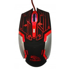 Wired Mouse R-horse RH-1990 Robocop Series 5 Button 3200 DPI Black - Red (120*70*35mm)