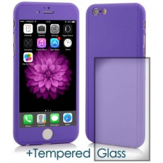 360 Protect Case Ancus for Apple iPhone 6/6S Purple with Tempered Glass Screen Protector 0.20mm