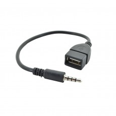 Audio Cable 3.5mm Male to USB Female for Audio-in, MP3, MP4, CD Player and Mobile Phones 22cm