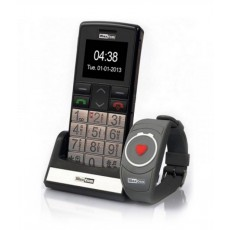 "Maxcom MM715BB 1.8"" with Wireless SOS Wristband, Bluetooth, Large Buttons, FM Radio, Torch and Emergency Button Black-Silver"