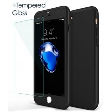 360 Protect Case Ancus for Apple iPhone 7 Black with Tempered Glass Screen Protector 0.20mm