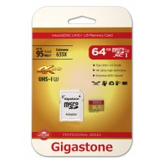 Flash Memory Card Gigastone MicroSDXC UHS-I U3 64GB U3 Extreme 633X Professional Series with Adapter up to 95 MB/s*