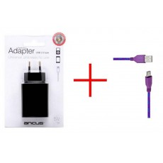 Travel Charger Ancus Usb 1200 mAh Switching with Automatic Power Save Mode with Data Cord Cable to Micro USB for Waterproof Phones