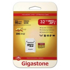 Flash Memory Card Gigastone MicroSDHC UHS-I U3 32GB U3 Extreme 633X Professional Series with Adapter up to 95 MB/s*