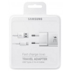 Travel Charger Samsung EP-TA20EWECGWW with Detachable Cable USB Type-C White 2000 mAh Fast Charge (15W)