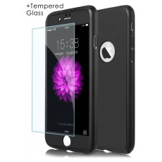 360 Protect Case Ancus for Apple iPhone 7 Plus Black with Tempered Glass Screen Protector 0.20mm