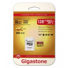 Flash Memory Card Gigastone MicroSDXC UHS-I U3 128GB U3 Extreme 633X Professional Series with Adapter up to 95 MB/s*