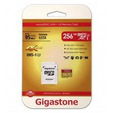 Flash Memory Card Gigastone MicroSDXC UHS-I U3 256GB U3 Extreme 633X Professional Series with Adapter up to 95 MB/s*