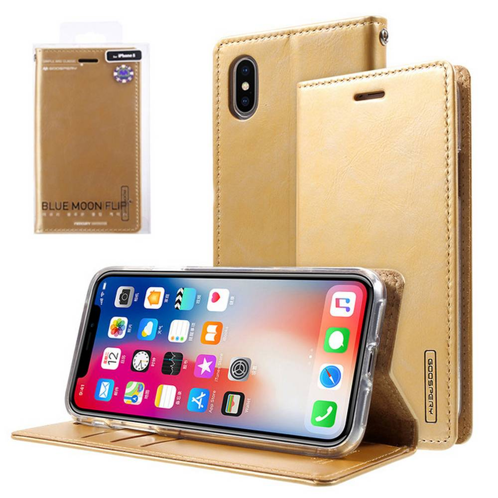 Home Telephoneplus Goospery Iphone X Blue Moon Flip Case Brown Book For Apple Xs Gold By Mercury 999
