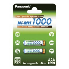 Rechargeable Battery Panasonic Ni-MH 1000 BK-4HGAE/2BE 930 mAh size AAA 1.2V Pcs 2