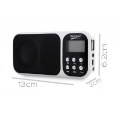 Portable FM Radio Musky HJ-92 2.3W White with Alarm Clock, Torch, Audio-In and USB Port