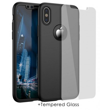360 Protect Case Ancus for Apple iPhone X Black with Tempered Glass Screen Protector 0.20mm