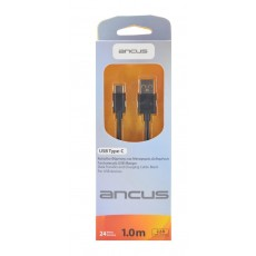 Data Cable Ancus USB to USB-C 2.1A Black 1m