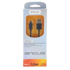 Data Cable Ancus USB-C 2.1A Black 1.5m