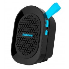 Outdoor Proof Wireless Speaker Bluetooth Jabees beatBOX Mini 3W IPX4 Black - Blue with Speakerphone and Audio-in