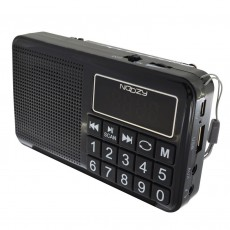 Portable FM Radio Noozy S24 3W Black with USB Port, MMC, Audio-in and Rechargable Battery