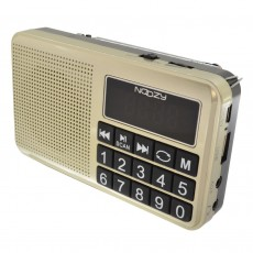 Portable FM Radio Noozy S24 3W Gold with USB Port, MMC, Audio-in and Rechargable Battery