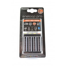 Battery Charger Panasonic Eneloop Pro BQ-CC55E Smart & Quick for AA/AAA + 4 Batteries size AA BK-3HCDE/2BE 2500 mAh Ni-MH 1.2V