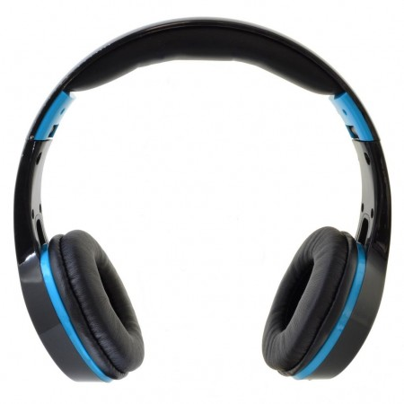 Bluetooth Headphones Stereo Foldable Komc KM-6200 Black - Light Blue with Mic and Audio In