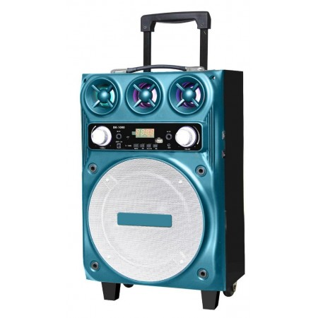 "Portable Speaker Trolley BK-1000 10"" 30W  Blue with Micro SD,USB Port , Bluetooth and Karaoke Microphone"