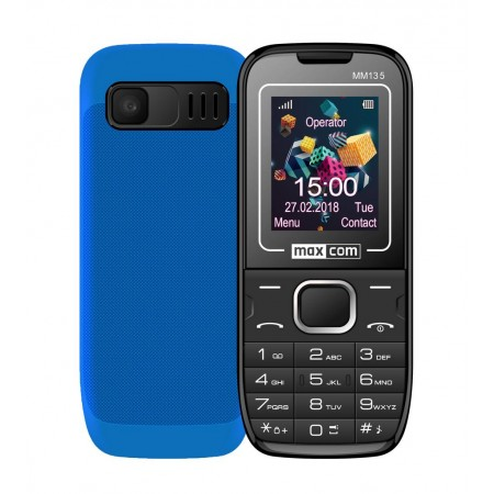 "Maxcom MM135 (Dual Sim) 1,77"" with Camera, Bluetooth, Torch, Speakerphone and FM Radio Black - Blue"