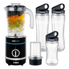 Blender N'OVEEN Sport Mix & Fit SB-2000 X-Line with Two 600 ml Bottles and One 300 ml 500W 3 Level Operation Mode and LED Indicator. Black