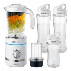 Blender N'OVEEN Sport Mix & Fit SB-2100 X-Line with Two 600 ml Bottles and One 300 ml 500W 3 Level Operation Mode and LED Indicator. White