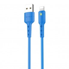 Data Cable Hoco X30 for iPhone/iPad/iPod Lightning with LED Indicator 1.2 m. Blue