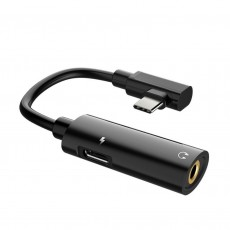 Adaptor Hoco LS19 2 in 1 USB-C to USB-C Female and 3.5 mm 1.5A Female Black